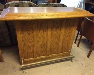 Solid Oak Bar with Brass foot rail