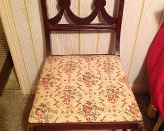 Vintage mahogany upholestered seat side chair