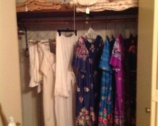 Vintage blankets, nice floral on one side and stripped on the other coverlet, electric mattress pad, house dresses, etc