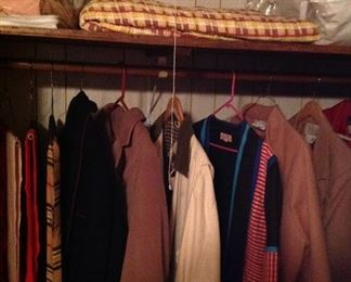 Old quilt, body pillow, nice scarves, coats
