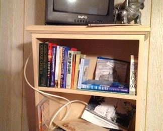 Sanyo small tv with remote, Robo dog, books, Arris HDMI, cards, Vintage Immaculate Conception church picture