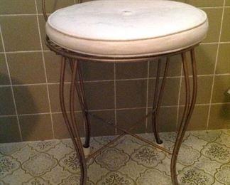 Vintage bathroom vanity stool
