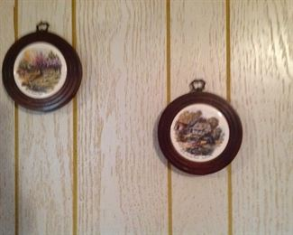 Two of a set of four country scenes plaques