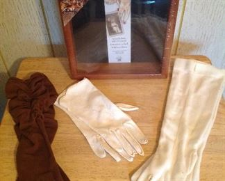 Vintage gloves, shadow box and folding tv tray