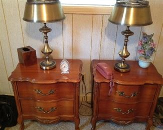 French provincial night stands, two matching brass lamps, tissue holder, crystal clock, vintage princess phone, arrangement