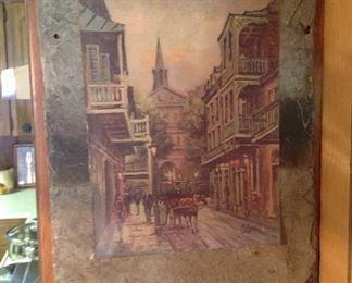 New Orleans print on old slate
