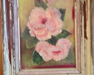 Helena Lafleur oil on canvas framed in a shabby chic frame