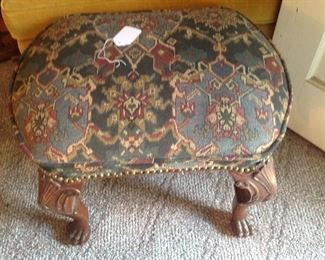 Claw foot tapestry Footstool