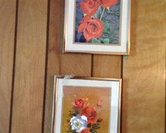 Pair of vintage foil prints