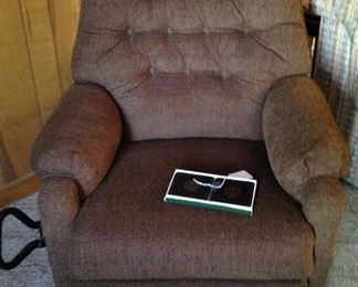 Lazy boy recliner with easy grip handle added, set of coaster still in box - never used