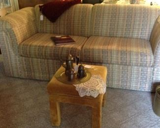 Drexel foot stool, croucheted doily, vintage brass tray and teapot with creamer and sugar