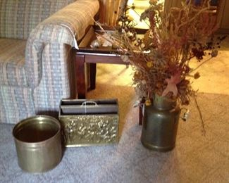Brass items including  English brass and wood magazine holder,
