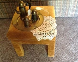Drexel footstool, brass tray, teapot and creamer with sugar, croucheted doily