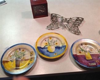 Set of three cute plates, silver plate butterfly trivet, clock