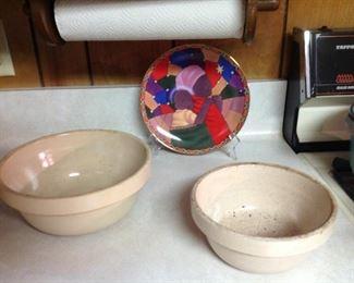 Great crock bowls, decorative plate