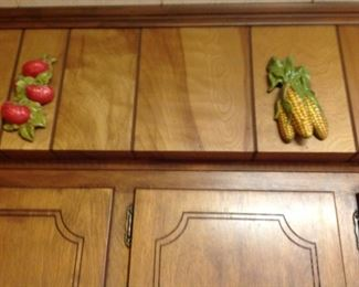 Two more vintage vegetable plaques
