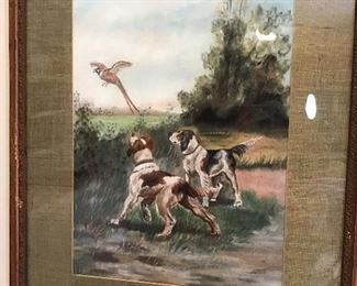 Hand painted scene of hunting dogs