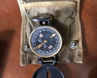 Compass with original canvas case