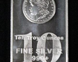 999+ Fine Silver Ten (10) Troy Ounce Silver Bar