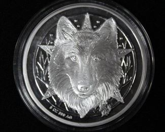 ".999 Silver Coin, Five (5) Ounce, Image of Wolf on Obverse, Colored Image of Cat and House on Reverse, 2.5"" Dia"