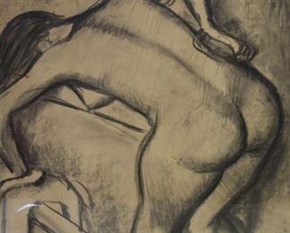 ARNO Peter Signed Pencil Crayon Nude In Bath
