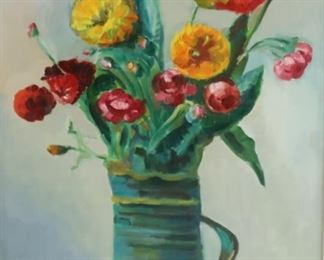 A CALATO Signed Oil On Canvas Floral Still