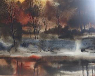 ANGELIN AWS Signed Watercolor Landscape