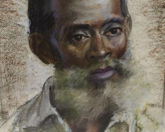 Arnold Hoffman Signed Crayon Portrait