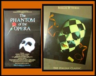 2 Framed Play Posters The Phantom of the Opera and Bolla and Verdi the Italian Classic