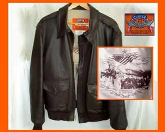 Excellent Cooper Commemorative Flight Jacket;  Inset Photo Showing the Lining of the Leather Jacket with Great Graphics. Tag reads; Manufactured Exclusively by the Cooper Defense Contract Division Supplier to the US Air Force