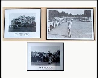 3 Nicely Framed Golf Prints