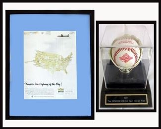 """Framed United Airlines Number One Highway in the Sky and 1994 """"The World Series that Never Was"""" Baseball"""