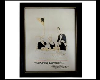 "Jim Berry Signed and Framed Cartoon; "" Can we get an order of Pork Rinds"" Comes with 2 Jim Berry Hand Written Letters"