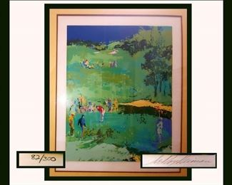 "HUGE Leroy Neiman Signed Serigraph Titled ""Golf Landscape"" 1976.  82/300 with COA Image Size 36x28"