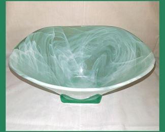 Really Pretty Large Swirled Green Glass Bowl