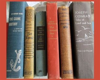 Small Sample of the Large Book Collection Showing John Steinbeck, Thomas Wolfe, F. Scott Fitzgerald and Herman Wouk