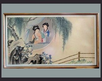 Lovely Geisha Signed Watercolor on Linen