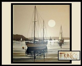 Very Attractive Large Signed Franks Oil on Canvas