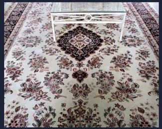 Lovely Large Area Rug and  Glass and Metal Coffee Table, has 2 Matching End Tables