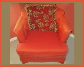 Nice Small Orange Chair with Palm Tree Pillow