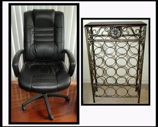 Nice Office Chair and Multi Bottle Metal Wine Rack