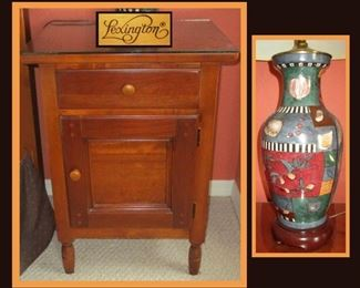 One of a Pair of Lexington Nightstands and one of a Pair of Colorful Lamps