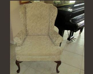 One of a Matching Pair of Attractive Wingback Chairs
