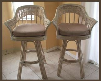 Pair of Rattan Barstools that Match with the Casual Dinette Set