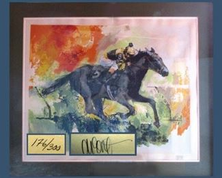 "Wayland Moore Framed, Signed and Numbered Serigraph, Titled ""Undefeated"" (Seattle Slew)"