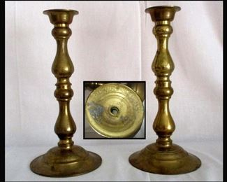 Pair of Old Brass Candle Holders