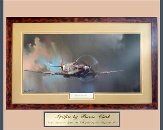 Really Nice Framed and Matted Barrie Clark Spitfire Print