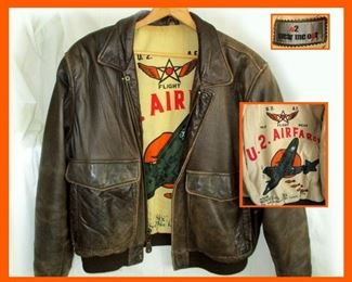 Really Cool Old Flight Wear Leather Flight Jacket. Inset Showing the Lining with Great Graphics, Stating U.2. Air Farces