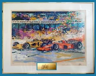"Wayland Moore Framed, Signed and Numbered Original Silk Screen with COA Titled ""Brickyard Start"""