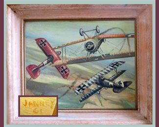 Signed and Framed Oil on Board Dated '61, Colorful Biplanes in Flight